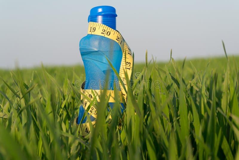 Botella de agua de los deportes la botella se coloca en la hierba Forma de vida deportiva P?rdida de peso fotografía de archivo libre de regalías