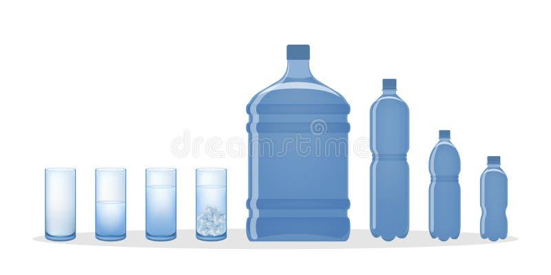 Botella de agua y vidrios ilustración del vector
