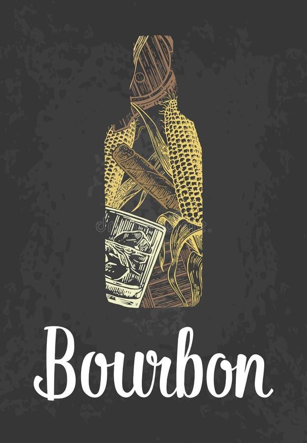 Botella de Borbón con el vidrio, cubos de hielo, barril, cigarro Coloree el bosquejo dibujado mano en fondo del negro del vintage ilustración del vector