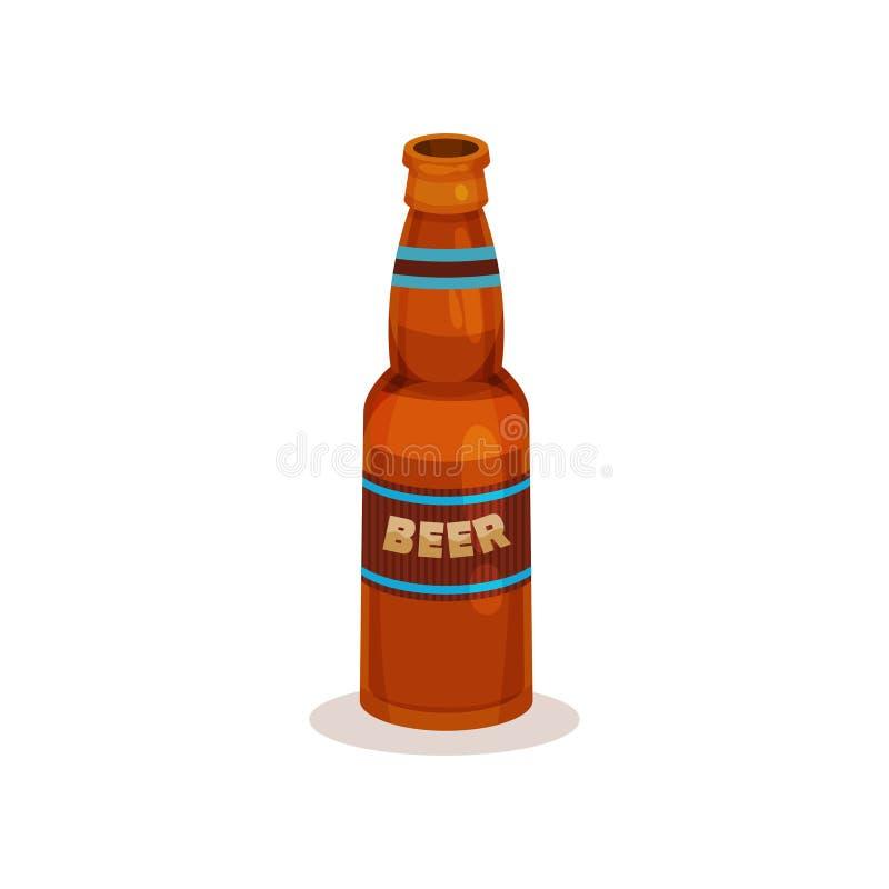 Botella de Brown de cerveza con la etiqueta Bebida alcohólica de restauración Elemento plano del vector para el aviador o el cart ilustración del vector