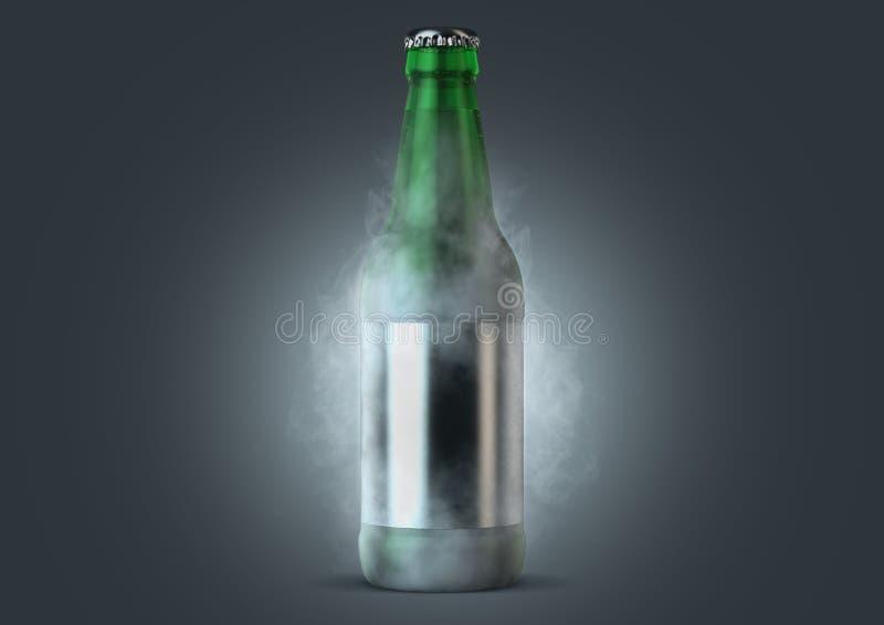 Botella de cerveza con la condensaci?n stock de ilustración