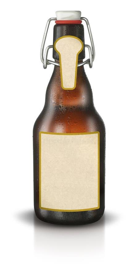 Botella de cerveza con la escritura de la etiqueta en blanco foto de archivo