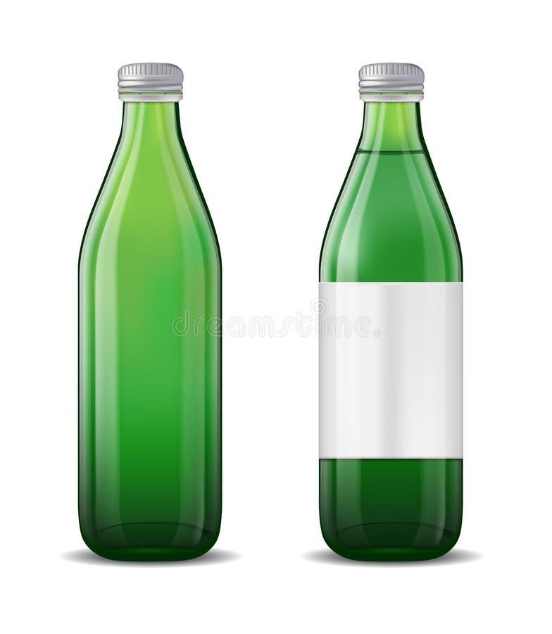 Botella de cerveza de cristal verde en el fondo blanco ilustración del vector
