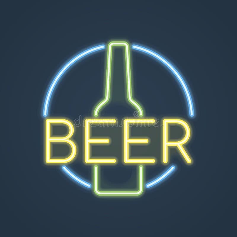 Botella de cerveza de neón que brilla intensamente, muestra de la barra Ilustración del vector ilustración del vector