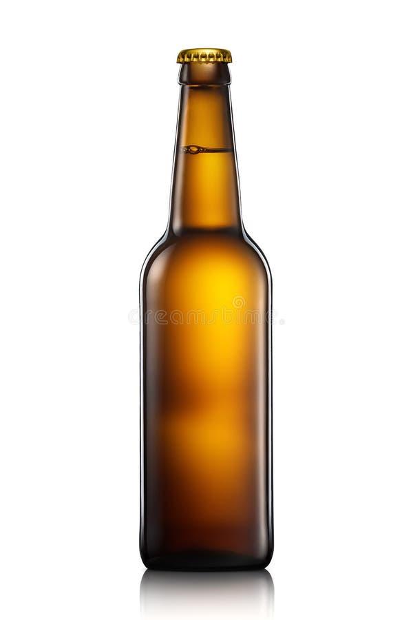 Botella de cerveza o de sidra aislada en el fondo blanco imágenes de archivo libres de regalías