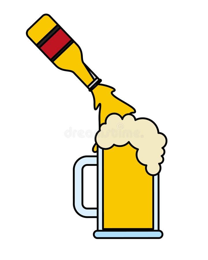 Botella de cerveza que vierte en la taza de cristal stock de ilustración