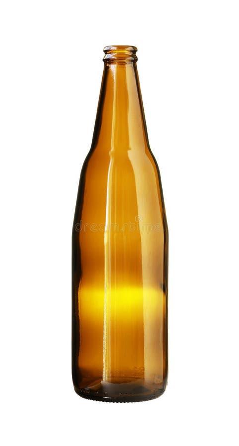 Botella de cerveza vacía de Brown aislada en el fondo blanco fotos de archivo