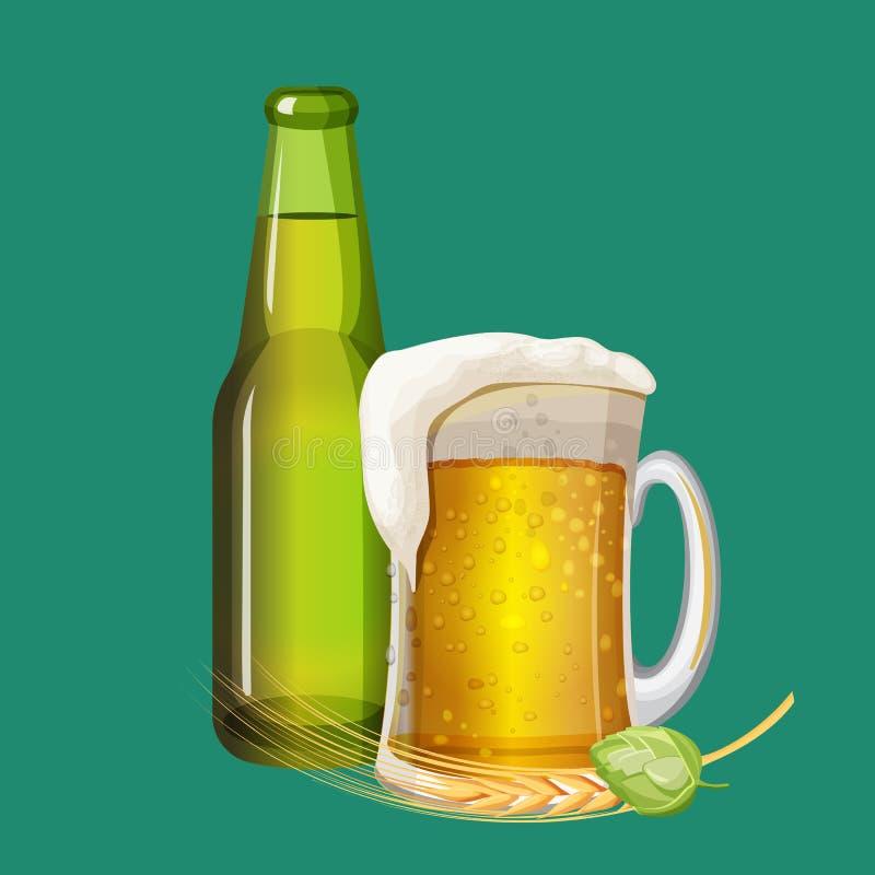 Botella de cerveza verde y bebida espumosa en la taza de cristal libre illustration