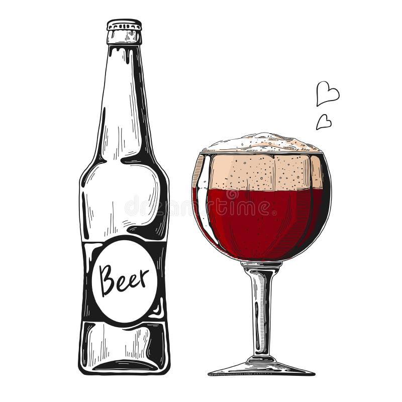 Botella de cerveza Vidrio con la cerveza Ejemplo del vector de un estilo del bosquejo imágenes de archivo libres de regalías