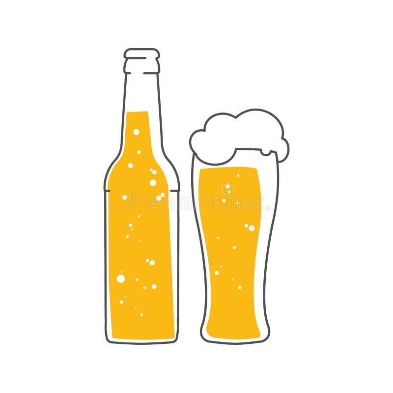 Botella de cerveza y un vidrio de cerveza de la espuma Ejemplo plano del vector aislado en el fondo blanco stock de ilustración