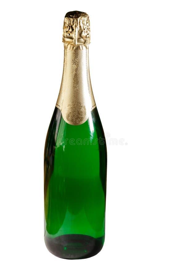Botella de Champán aislada en el fondo blanco fotos de archivo