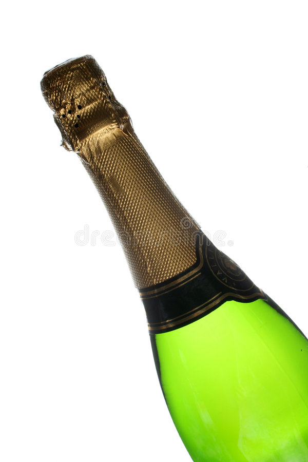 Botella de Champán aislada sobre el fondo blanco imagen de archivo libre de regalías