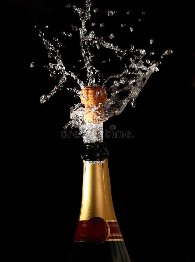 Botella de Champán con el corcho shotting imágenes de archivo libres de regalías