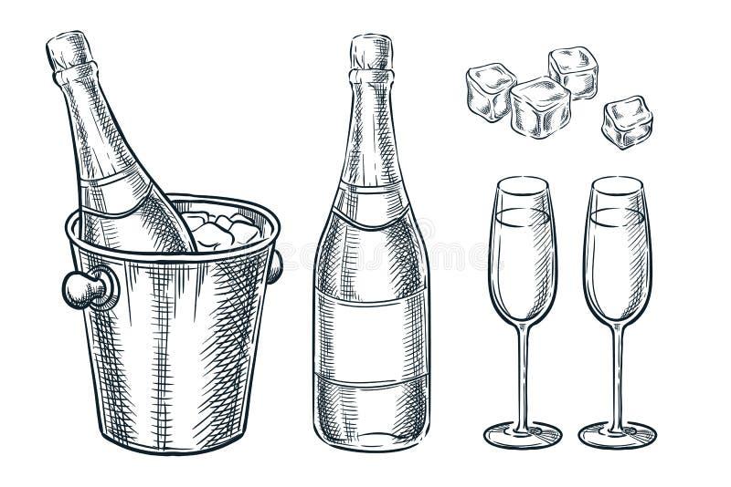 Botella de Champán en cubo con hielo y dos vidrios Ejemplo del bosquejo del vector Elementos exhaustos del diseño del día de fies libre illustration