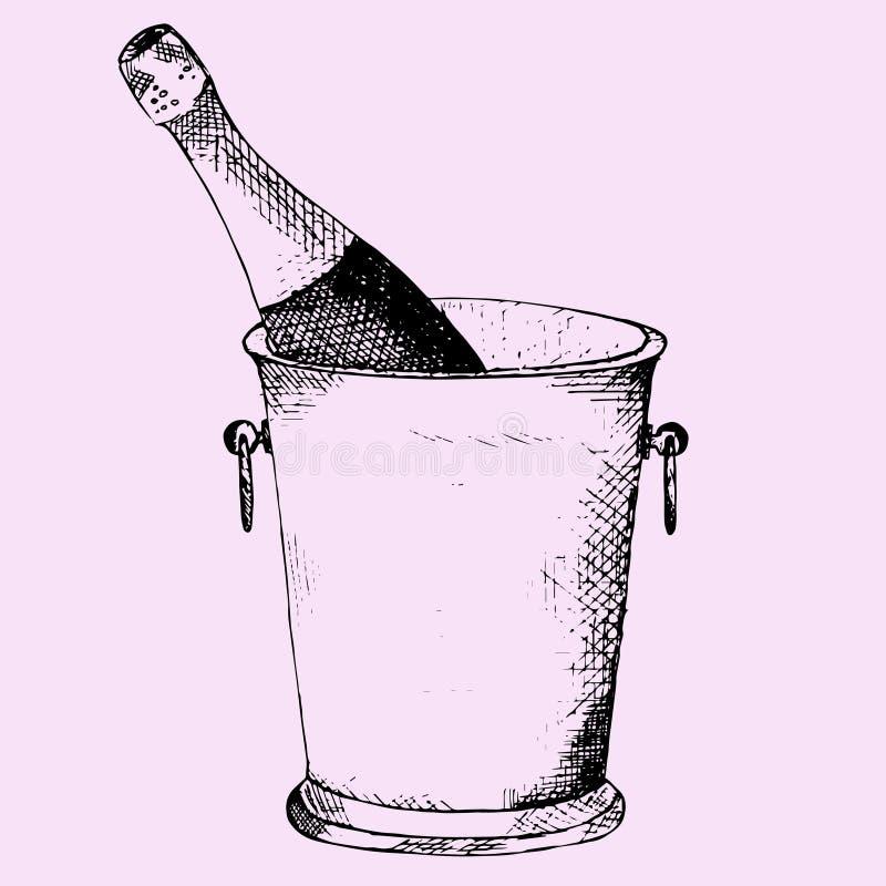 Botella de Champán en cubo de hielo ilustración del vector