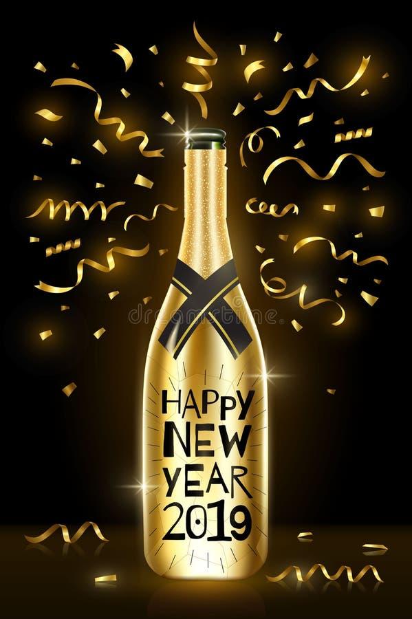 Botella de champán Tarjeta 2019 de felicitación de la Feliz Año Nuevo Días de fiesta de invierno Ilustración EPS10 del vector stock de ilustración