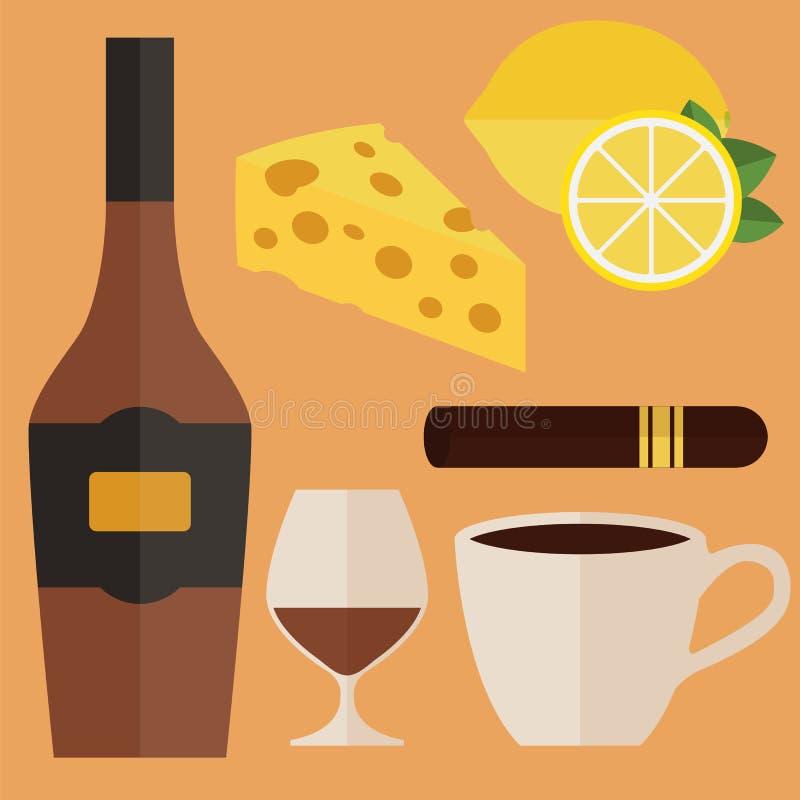 Botella de coñac, de vidrio, de cigarro y de bocados Ilustración del vector libre illustration