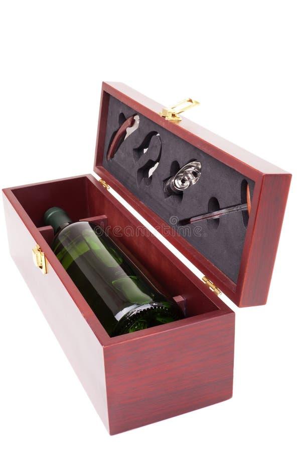 Botella de conjunto del vino blanco y del sommelier imagen de archivo libre de regalías