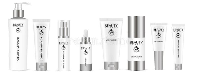Botella de cristal baja cosmética Diseño del vector de paquete cosmético Publicidad de la crema tonal, lápiz corrector, base Crem stock de ilustración