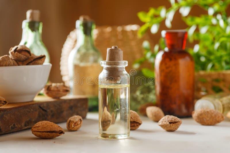 Botella de cristal con aceite, un poco de almendra en cáscara alrededor, los frascos y el verdor de cristal viejos en una tabla d fotos de archivo