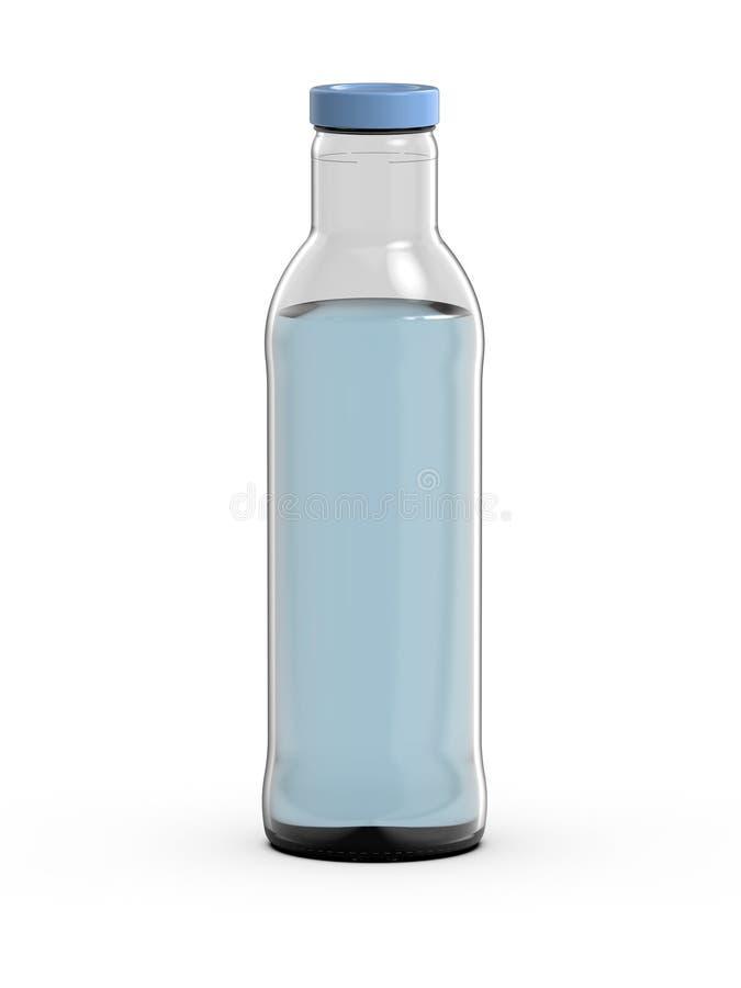 Botella de cristal con agua, representación 3D ilustración del vector