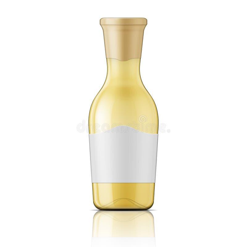 Botella de cristal con el cuello y la etiqueta anchos stock de ilustración
