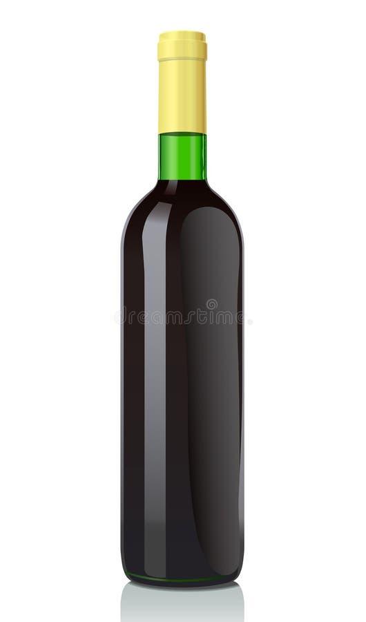 Botella de cristal con el vino rojo ilustración del vector