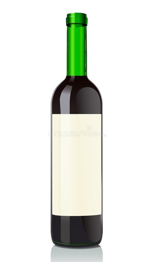 Botella de cristal con el vino rojo stock de ilustración