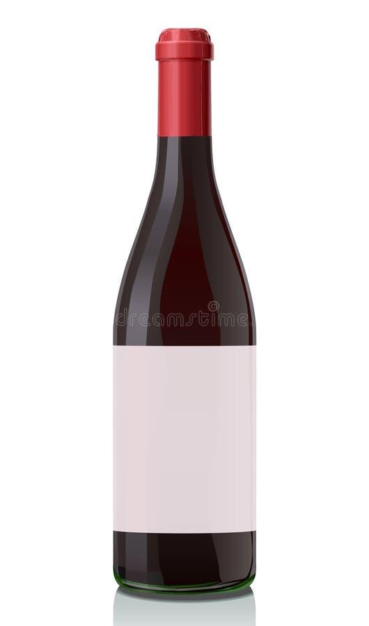 Botella de cristal con el vino rojo. stock de ilustración