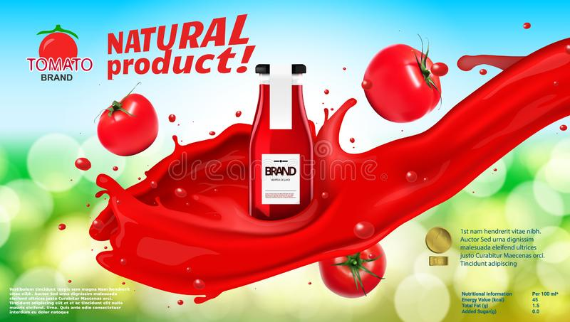 Botella de cristal con la salsa de tomate de tomate en el tomate Juice Splash ilustración del vector