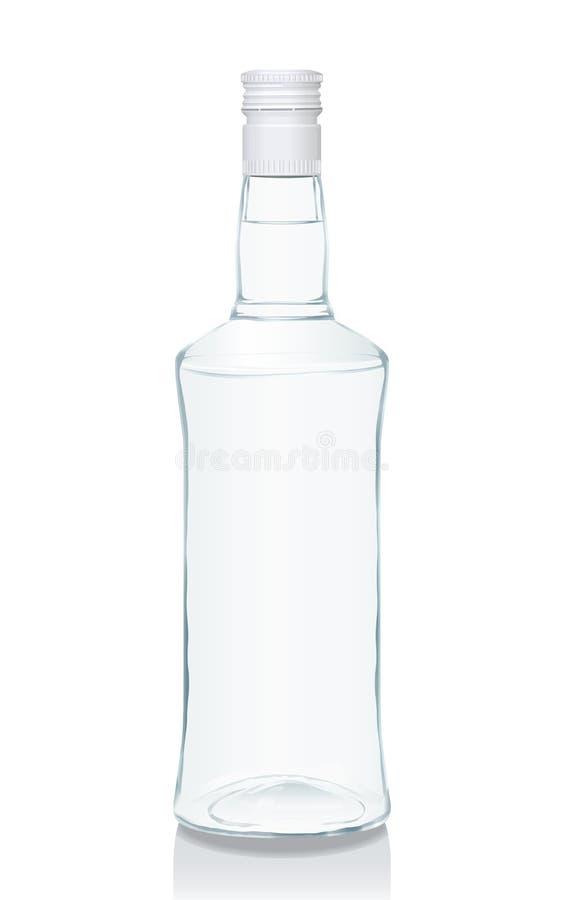 Botella de cristal con la vodka rusa fotos de archivo