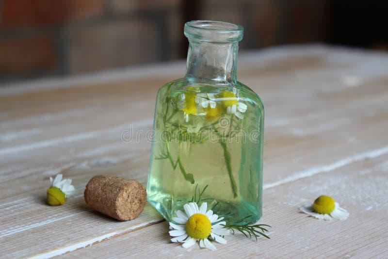 Botella de cristal con tinte de la manzanilla imagen de archivo