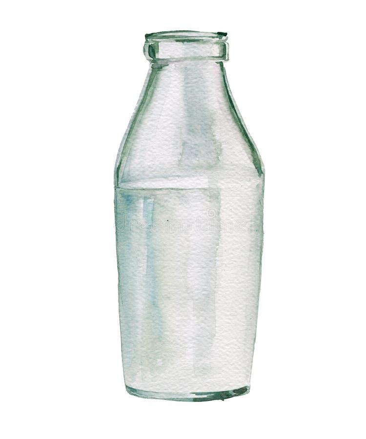 Botella de cristal de leche Ilustración de la acuarela Aislado imagenes de archivo