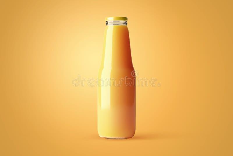 Botella de cristal del jugo sin la plantilla de la etiqueta para usted diseño Maqueta de la bebida de la fruta en fondo foto de archivo libre de regalías