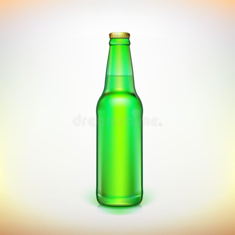 Botella de cristal del verde de la cerveza. Embalaje del producto. stock de ilustración