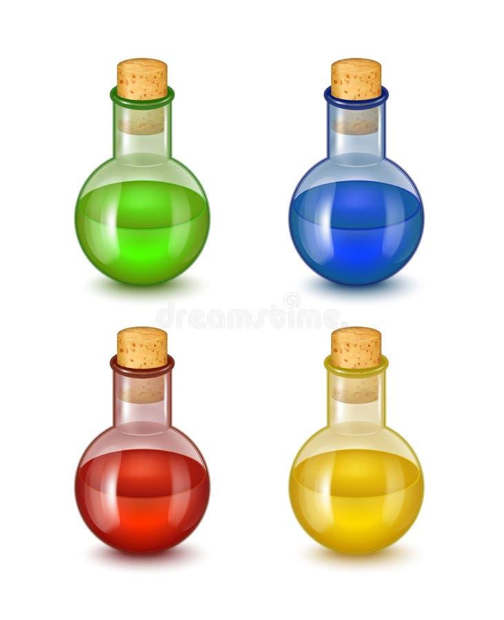 Botella de cristal detallada realista de veneno tóxico Vector ilustración del vector