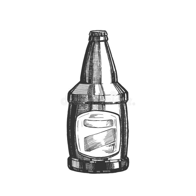 Botella de cristal exhausta de la mano con vector en blanco de la etiqueta ilustración del vector