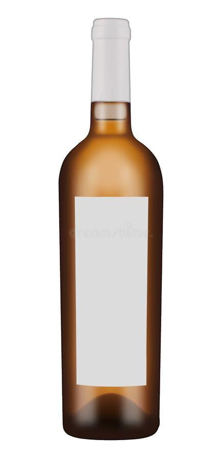 Botella de cristal oscura para el vino blanco imagen de archivo libre de regalías