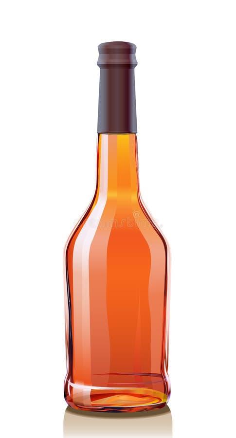 Botella de cristal para el coñac o el brandy stock de ilustración