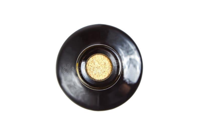 Botella de cristal tapada con corcho de vino rojo, visión superior imágenes de archivo libres de regalías