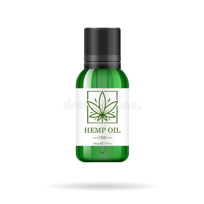 Botella de cristal verde realista con aceite de cáñamo Mofa para arriba de los extractos del aceite del cáñamo en tarros Logotipo libre illustration