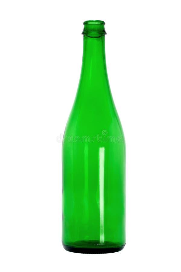 Botella de cristal verde vacía imagen de archivo