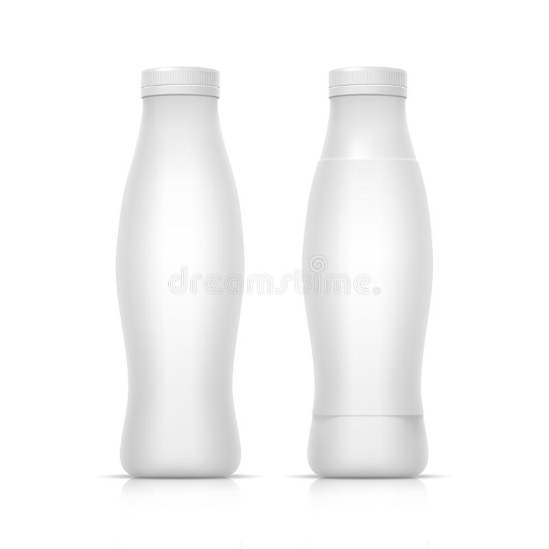 Botella de empaquetado blanca en blanco del envase para el yogur stock de ilustración