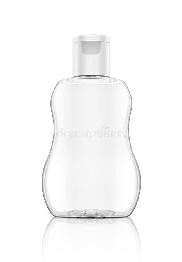 Botella de empaquetado en blanco del claro del aceite de bebé aislada en blanco foto de archivo libre de regalías