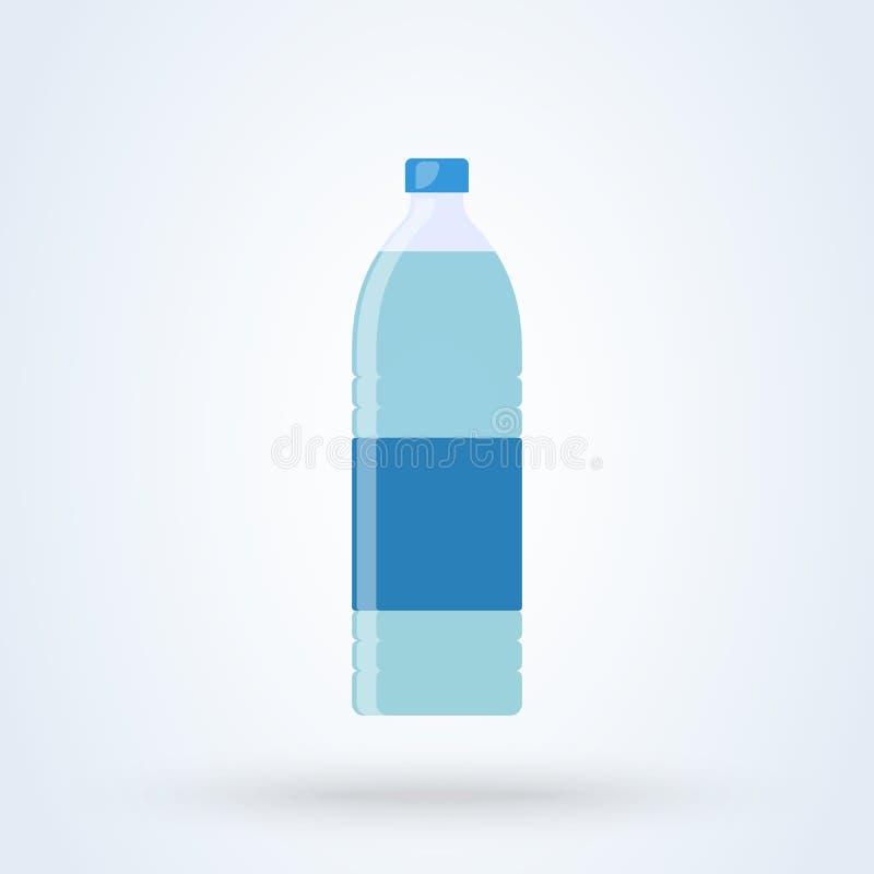 Botella de estilo plano del agua Icono del ejemplo del vector aislado en el fondo blanco stock de ilustración
