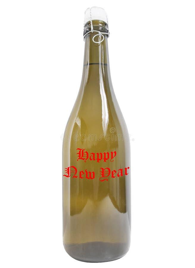 Botella de Feliz Año Nuevo del vino foto de archivo libre de regalías
