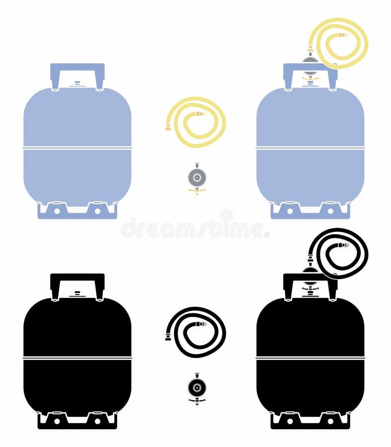 Botella de gas Sin el terraplén del esquema y del negro stock de ilustración