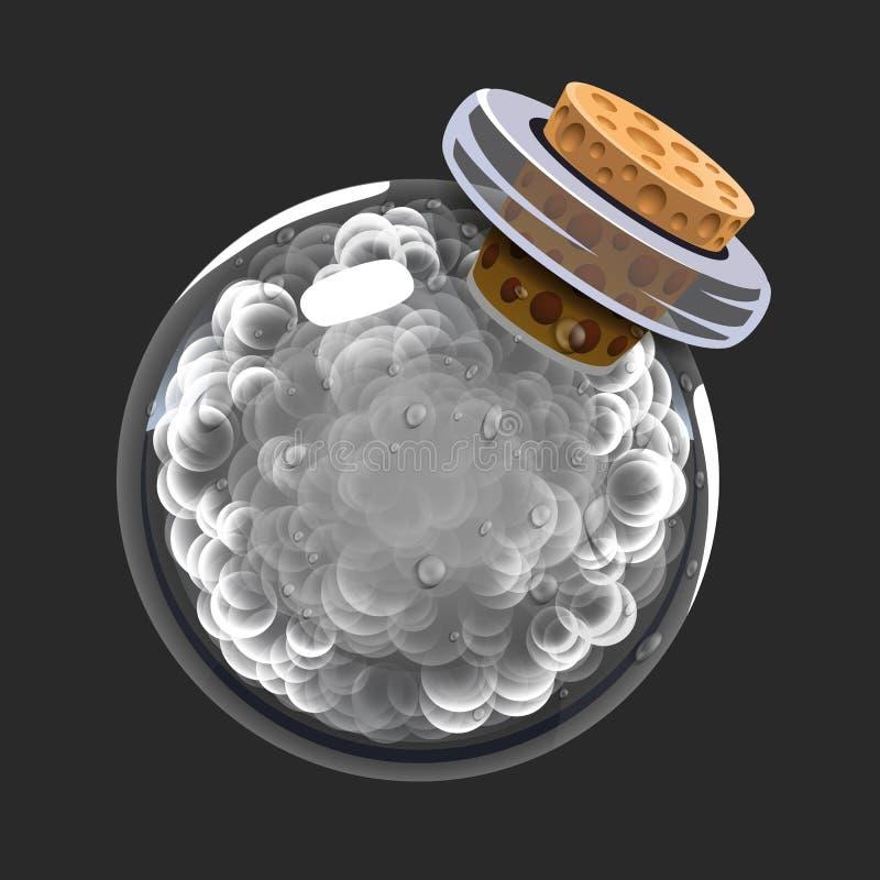 Botella de humo Icono del juego del elixir mágico Interfaz para el juego RPG o match3 Humo o nubes Variante grande stock de ilustración