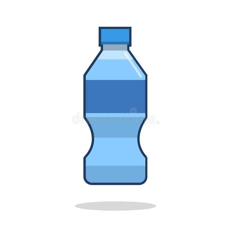 Botella de icono del agua en estilo plano aislado en el fondo blanco Ilustración del vector ilustración del vector