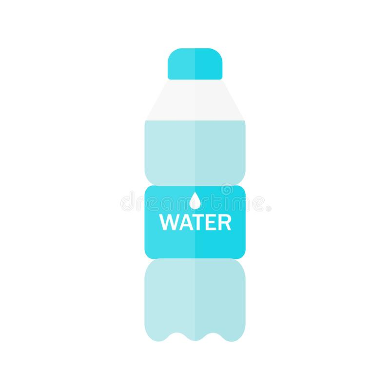 Botella de icono del agua en estilo plano aislado en fondo azul Ilustraci?n del vector stock de ilustración